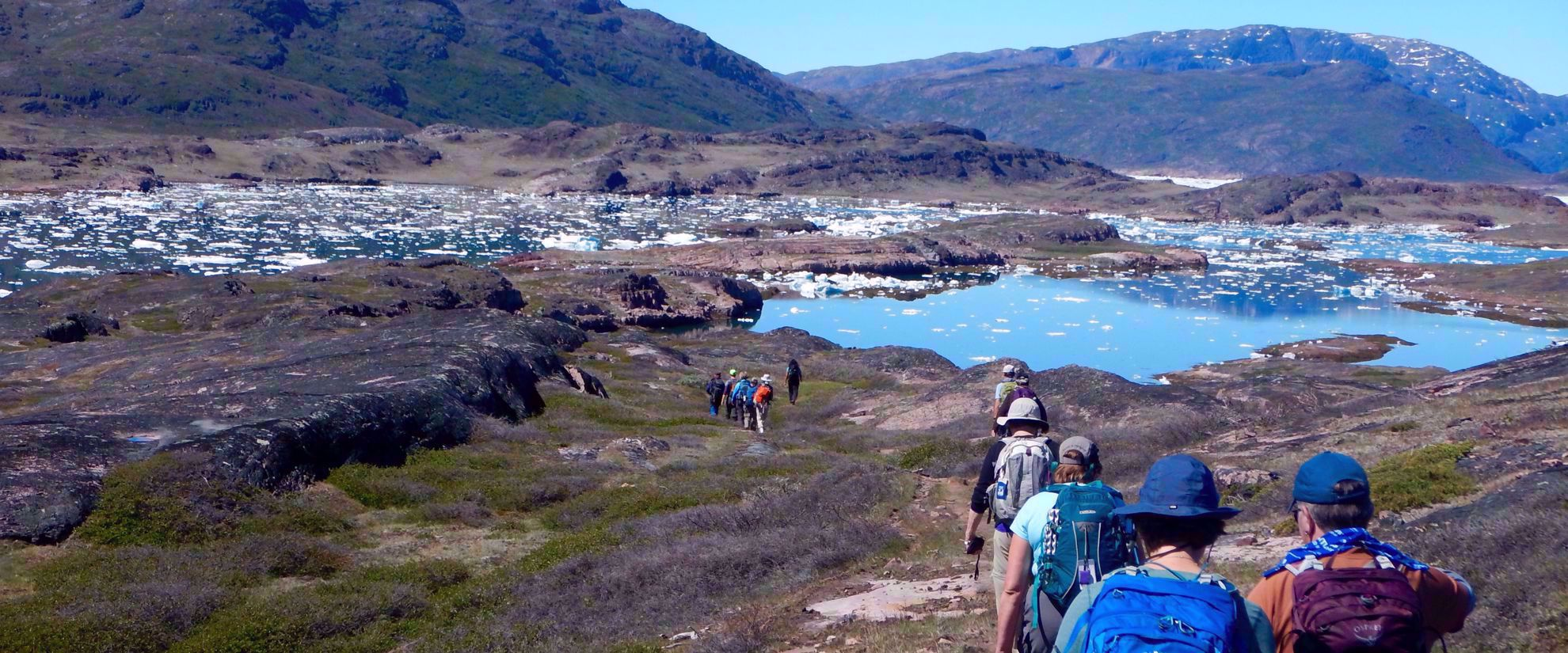 women's hiking group in greenland