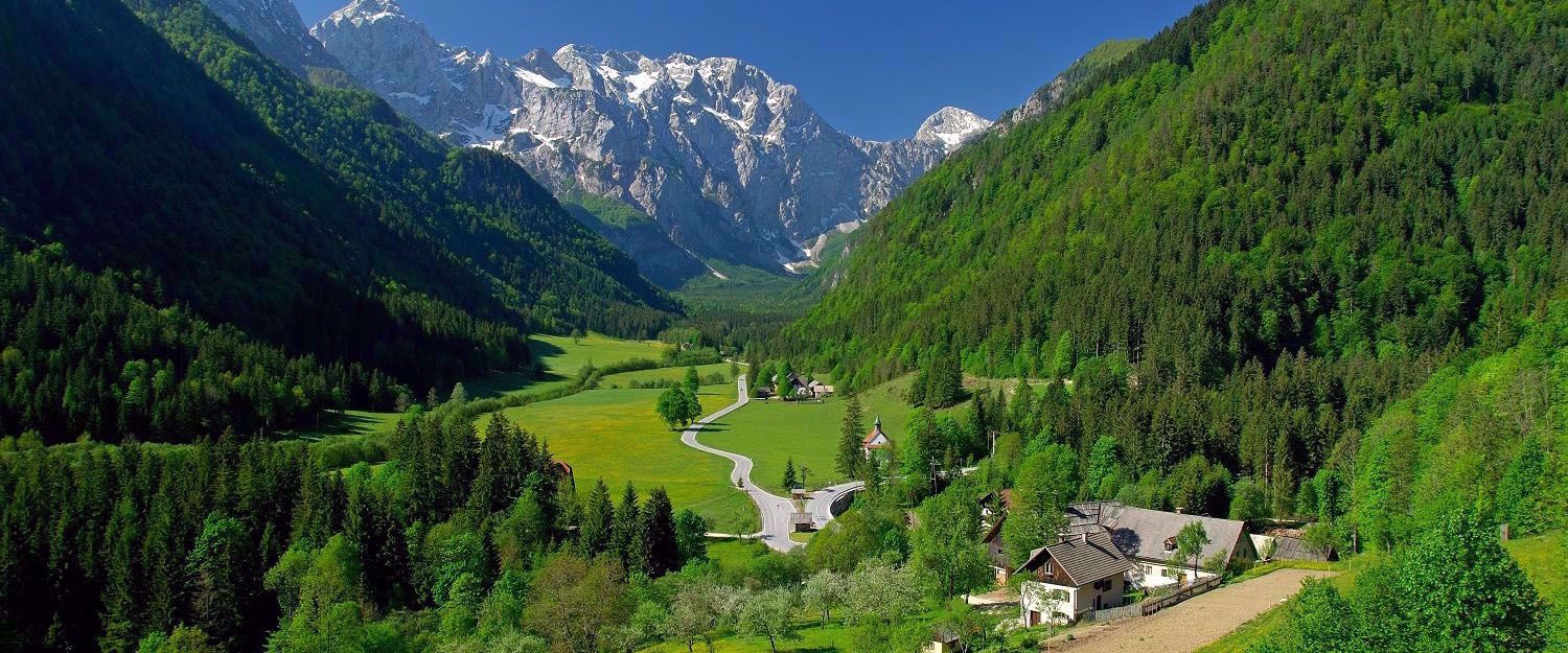 homes and road in mountain range of slovenia