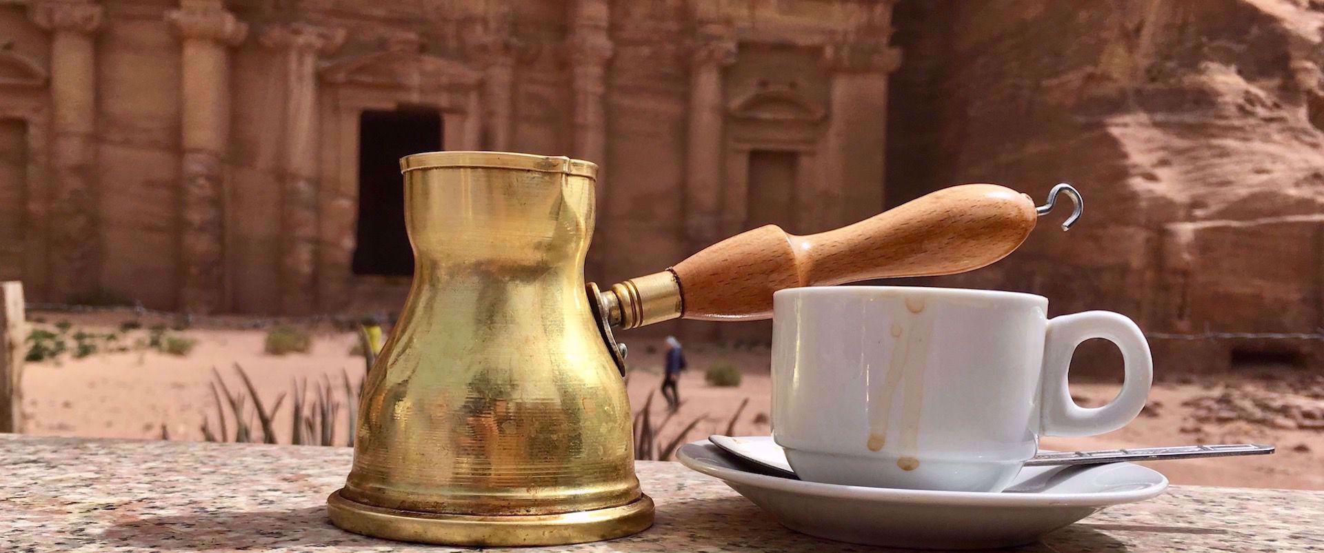 traditional coffee maker and coffee cup at petra jordan