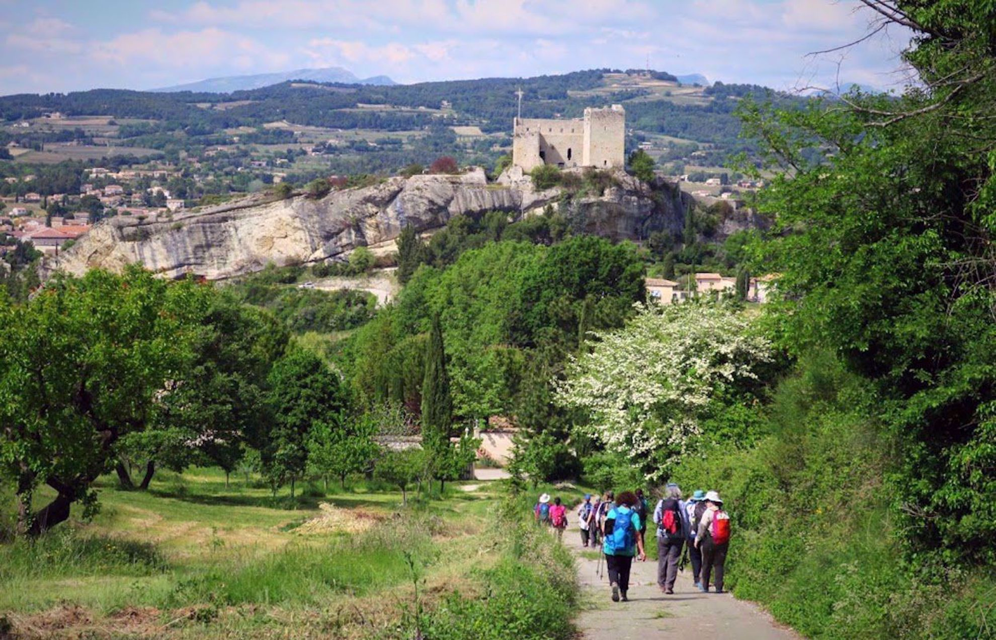 walking into Vaison de Romaine on a women's hiking trip in Provence