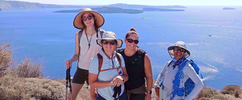 hiking the coast of a greek island