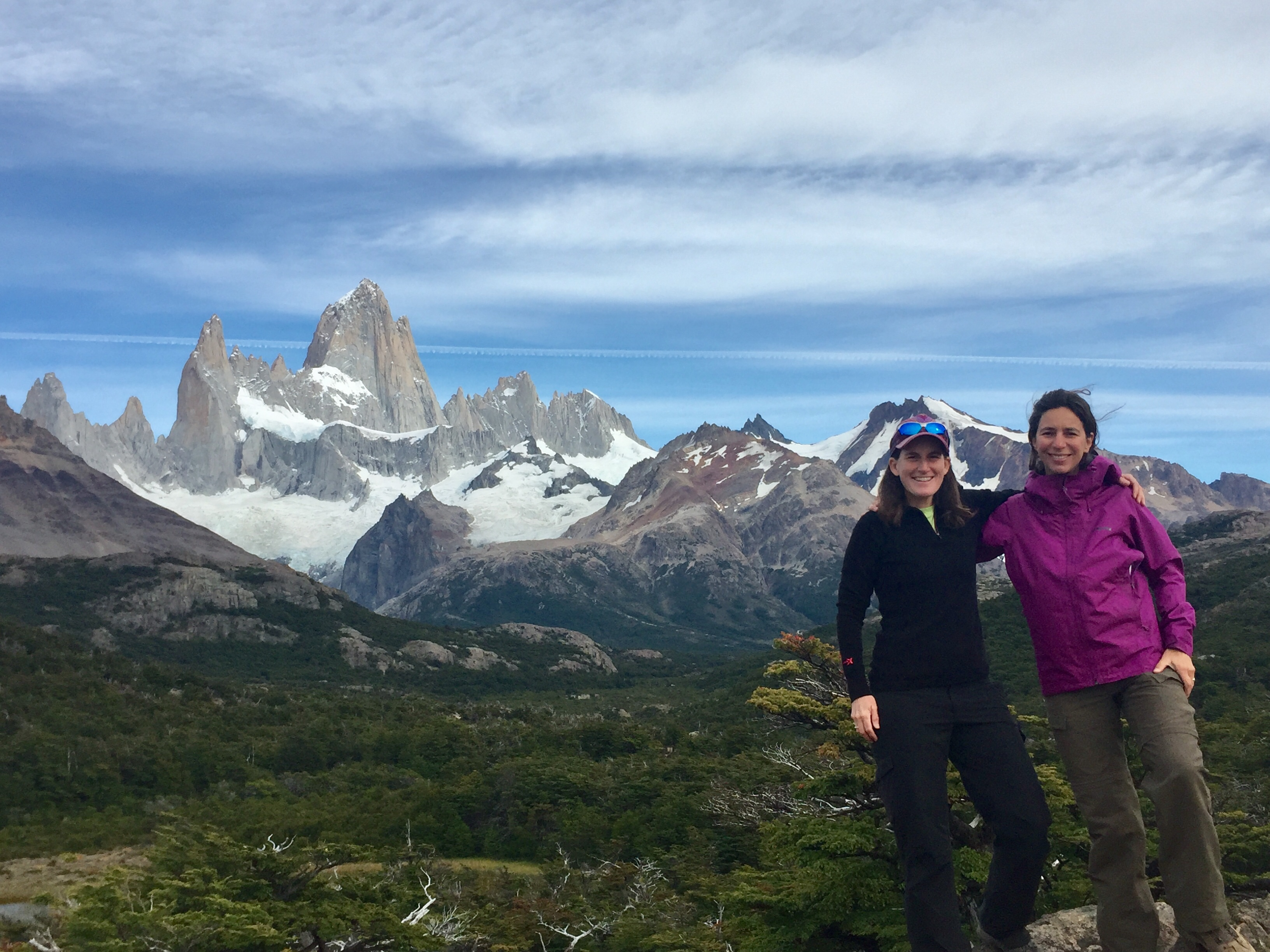 Maria with AGC guide Anne Brewer, in front of Mt. Fitz Roy in Fitz Roy Los Glaciares National Park